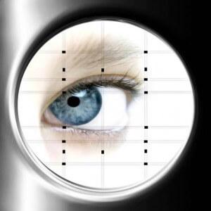 Irisdiagnose - Ansicht des Auges durch das Augendiagnosegerät